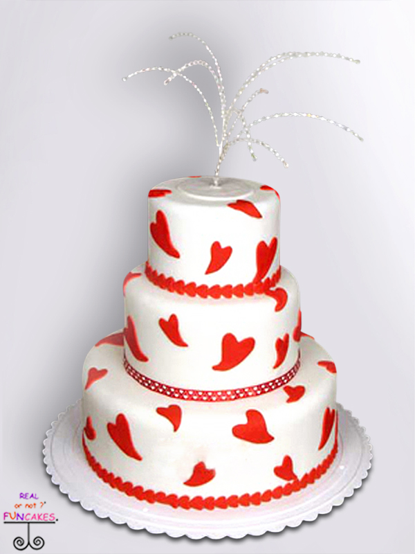 Hearts Of Love 3 tier cake